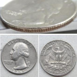 США ¼ доллара (25 центов) , 1966г.  Washington Quarter / ПериодСША (1951 - 1980)