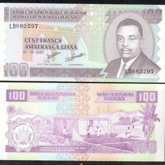 Бурунди / Burundi 100 Francs 2007 Pick 37 UNC _ лот № 13 _ Африка