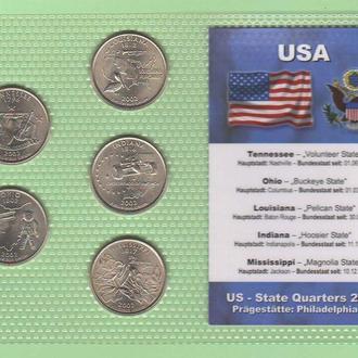 Набор квотер ов США 2002 год - P - пластик блистер запайка