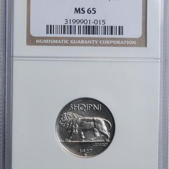 "Албания 1/4 лека 1927 г., NGC MS65, ""Королевство Албания (1925 - 1938)"""