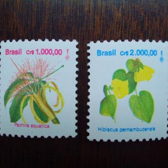 Бразилия.1992г. Флора. Цветы. Полная серия. МNН