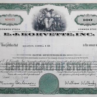 Акция Сертификат на 100 Акций E.J.Korvette, Inc. 1961 США Mt 02