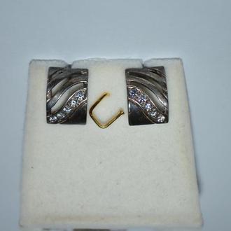 новые шикарные серьги с фианитами серебро 925 проба вес 3,33 грамм винтаж