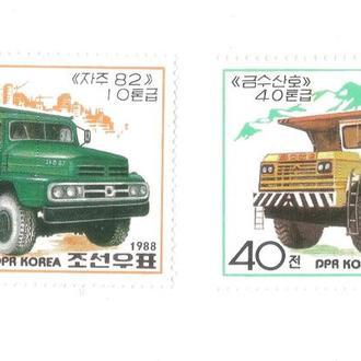 2 марки Северная Корея 1988 машины транспорт