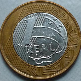 Бразилия 1 реал 2008 биметалл