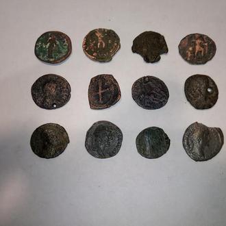 Мультилот! 12 монет Древнего Рима в неплохом сохране. Без резерва!