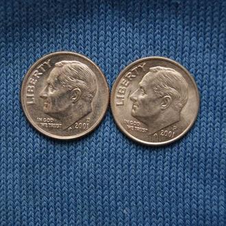 США 10 центов дайм  2001 г   Р  D