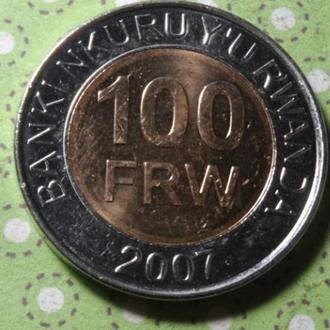 Руанда 2007 год монета 100 франков биметалл !