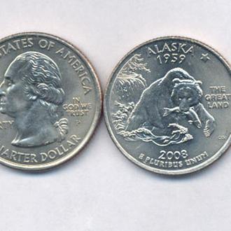 Монеты Америка США  25 центов 2008 г. Аляска.