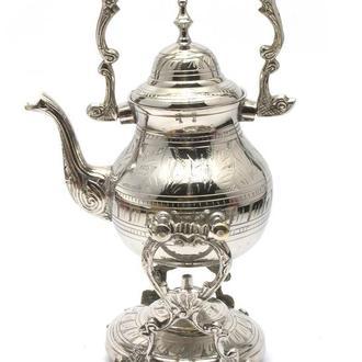 Чайник бронзовый с горелкой на подставке цветной рисунок