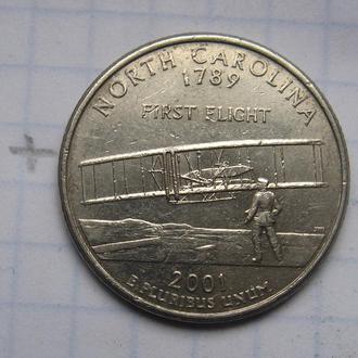 """США. 25 центов 2001 года (ШТАТ СЕВЕРНАЯ КАРОЛИНА """"Р"""")."""