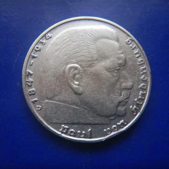 Германия 2 марки 1937 D серебро