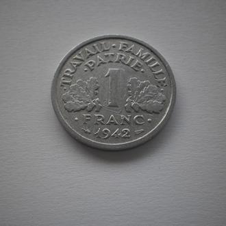 1942 рік Франція окупация окупація окупаційні монети Франція під Німеччиною Франция 1 франк 1942 год