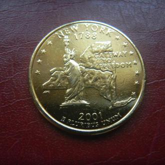США 25 центов Нью-Йорк D 2001