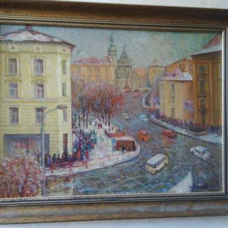 Картина, Н. Клепиков, Львов, 1973 г., полотно, масло, в рамке, размер полотна 57х43 см