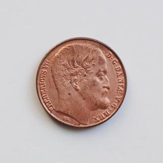 Дания 1 ригсбанкскиллинг 1852 г., UNC, 'Король Фредерик VII (1848 - 1863)'