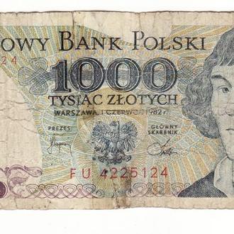 Польша 1000 злотых 1982 FU склеенная