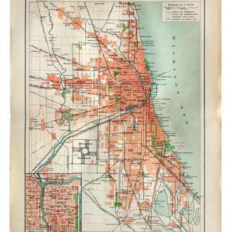 Карта Чикаго Chicago, 1892-95  Германия Оригинал Fv8.8