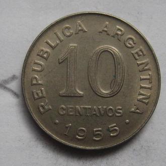 АРГЕНТИНА, 10 сентаво 1955 года.