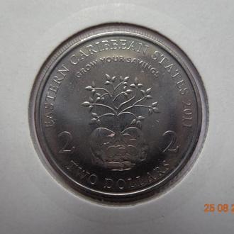 """Восточно-Карибские штаты 2 доллара 2011 Elizabeth II """"Hands holding tree"""" СУПЕР состояние редкая"""