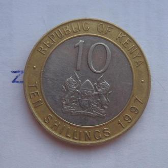 КЕНИЯ, 10 шиллингов 1997 г. (БИМЕТАЛЛ; ПОРТРЕТ ВПРАВО).