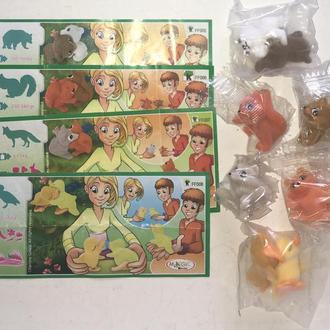 Киндер. Серия бархатные животные: мишки, утята, лисята, волчата FT005 - FT008 4 шт + 4 вкл