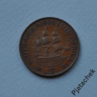 Южная Африка 1 пенни 1936 корабль парусник п 8