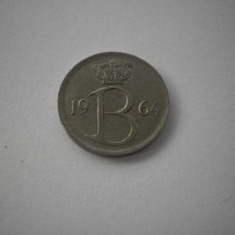 Европа Європа Бельгія Бельгия 25 центів 25 центов 1964 рік. Красивий герб з короною. Недорого.
