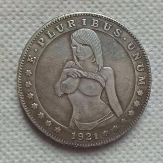 Dead coins, 1 доллар 1921, Экзонумия, Монета с Черепом, диаметр 40 мм тип - 89