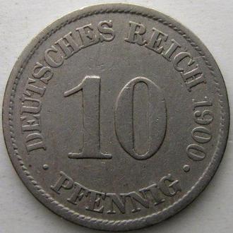 Германия 10 пфенниг 1900 год (A)