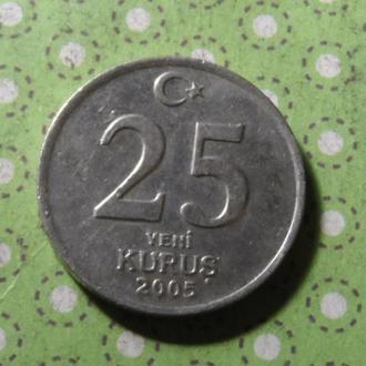 Турция 2005 год монета 25 куруш !
