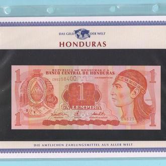 ГОНДУРАС банкнота 1 Lempira UNC из серии «Das Geld Der Welt» + сертификат + альбомный лист