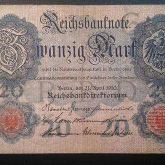 ГЕРМАНИЯ  20 марок 1910 год, № 7 цифр