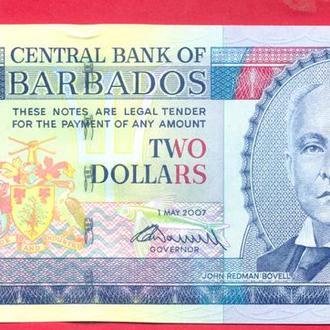 Боны Океания Барбадос 2 доллара 2007 г.
