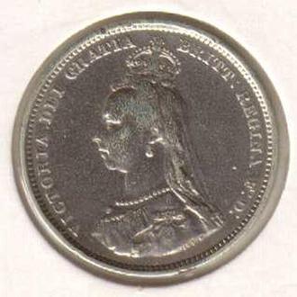 Великобритания  1887 год  1 шиллинг  Юбилейка  в холдере  серебро