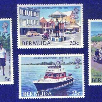 Бермудские острова (1979) 100 лет полиции. Катер, автомобиль