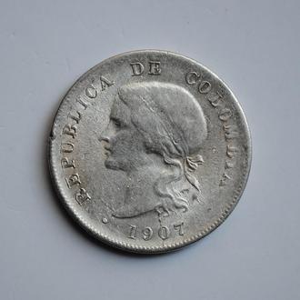 Колумбия 50 сентаво 1907 г., VF+, 'Республика (1886 - 1914)'