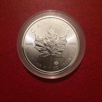 Инвестиционная монета Кленовый лист (Канада) 2019 31.1 грамм чистого серебра 999.9 пробы.