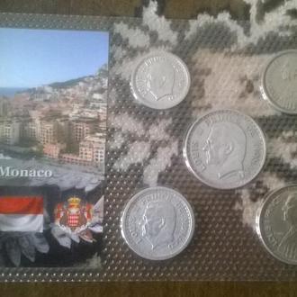 Набор монет МОНАКО 1945-1947 года блистер запайка пластик