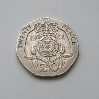 Великобритания. 20 пенсов  1982 год.
