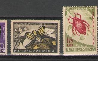 Румыния 1956 ** Фауна Насекомые Бабочки Жуки Серия + Разновид 48 евро MNH