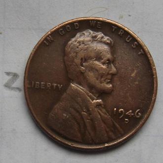 """США, 1 цент 1946 года """"D""""."""