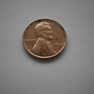 монета США Америка 1 цент 1946 року пшеничний цент пшеничный цент 1946 года one cent 1 cent