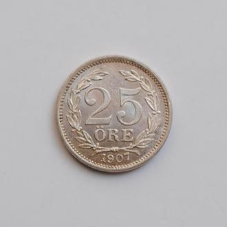 Швеция 25 эре 1907 г. EB, UNC, 'Король Оскар II (1873 - 1907)'