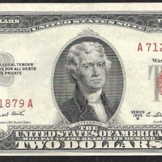2 доллара США 1953 B Legal Tender Notes AU-UNC A ....9235 A (127)