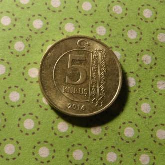 Турция 2016 год монета 5 куруш !