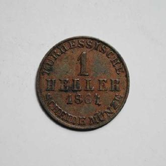 Хассе-Кассель 1 хеллер 1864 г. РЕДКАЯ