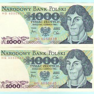 Польша 1000 злотых 1982 UNC 2 шт в лоте!