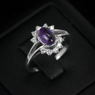 Кольцо природный аметист