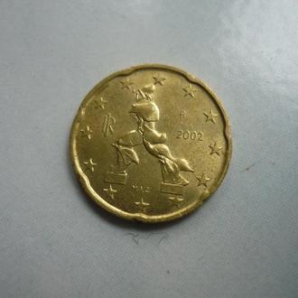Италия  20 евроцентов 2002